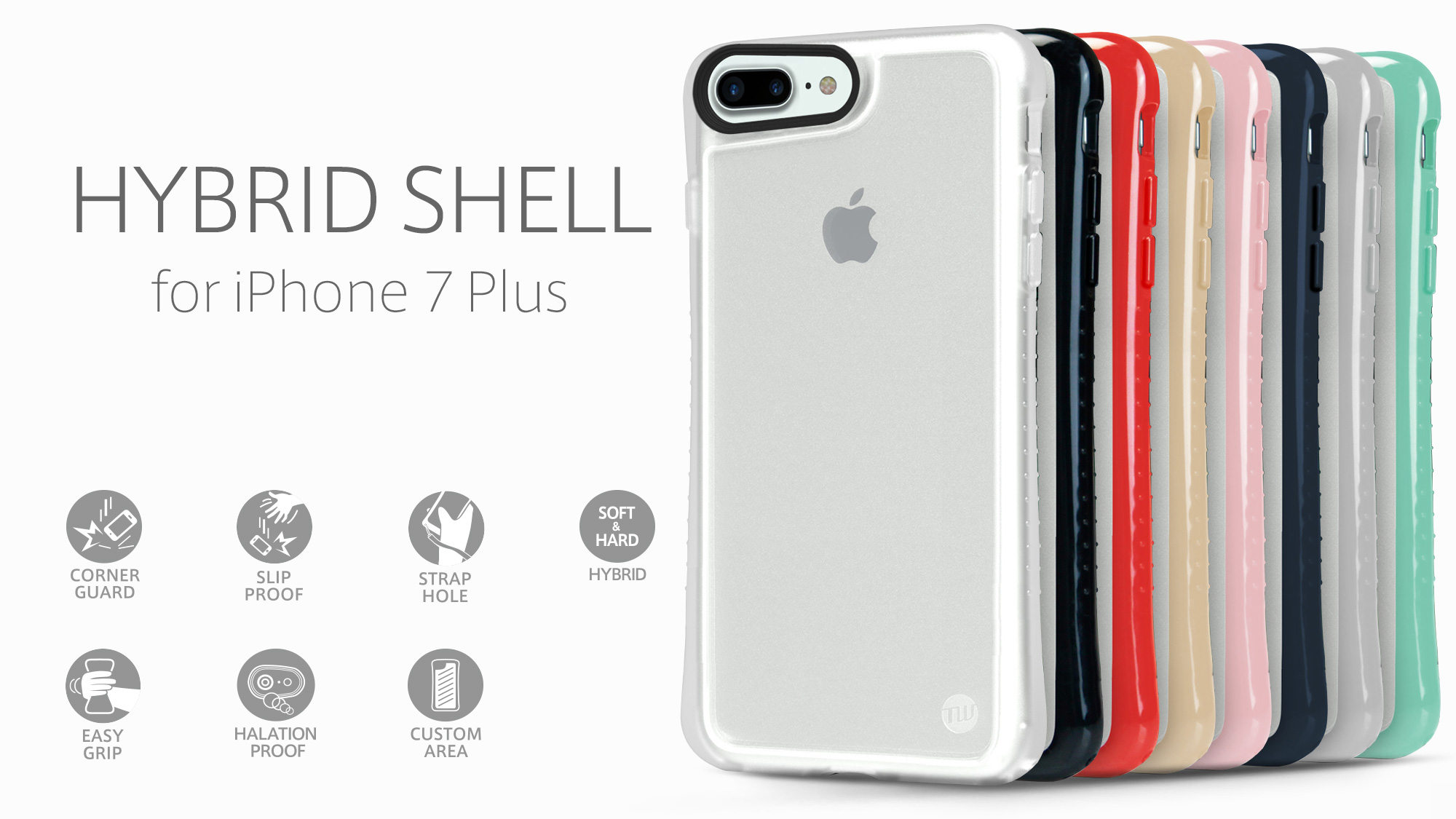 official photos 7a363 7026b TUNEWEAR HYBRID SHELL + TUNEGLASS Anti shock case for iPhone 8 Plus / 7 Plus